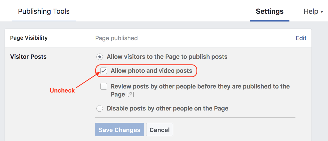 do not allow images and videos on facebook page