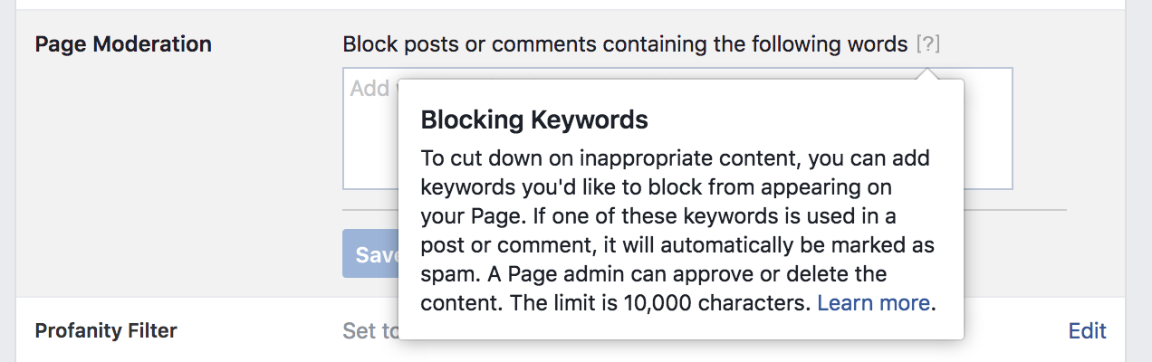 Facebook Blocklist Define
