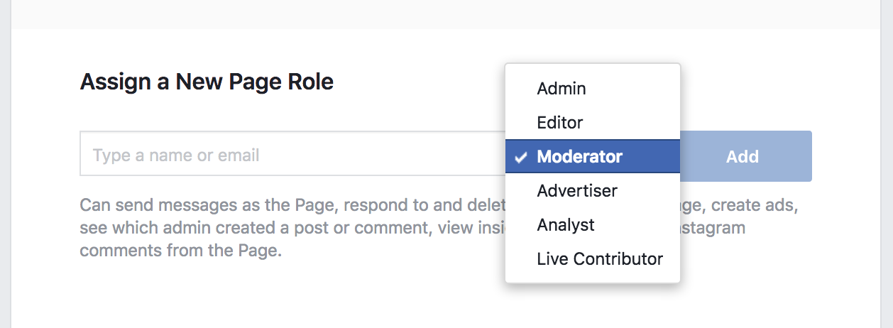 Facebook Page Admin Role