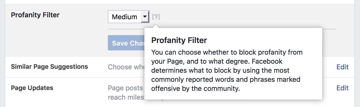 Facebook Profanity Filter