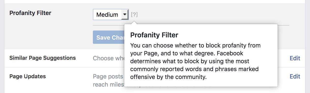 Facebook Profanity Filter